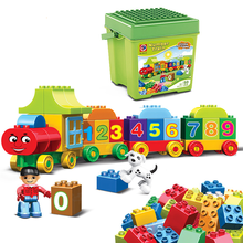 50pcs Duplo Number Train Large particles Building Blocks Set Bricks Educational Baby City Assemble DIY Toys For Children Gifts