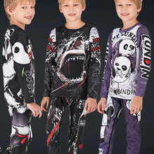 Детские Компрессионные спортивные костюмы MMA Rashguard BJJ GI футболка + штаны Jiu Jusit трико Муай Тай шорты MMA Rashguard для детей MMA