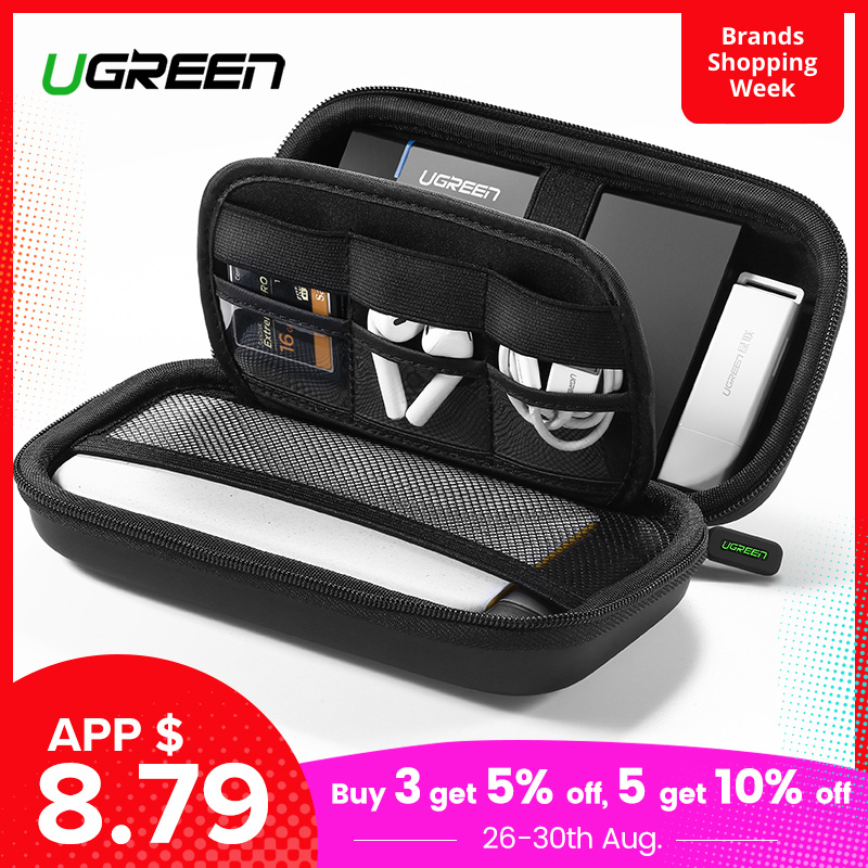 Ugreen Hard-Case-Box Power-Bank-Case Usb-Cable SSD External-Storage Carrying for Disk