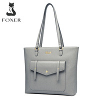 FOXER Commute Women's Handle Bag Split Leather Large Capacity Office Lady Shoulder Bags Casual Female Purse Luxury Travel Tote