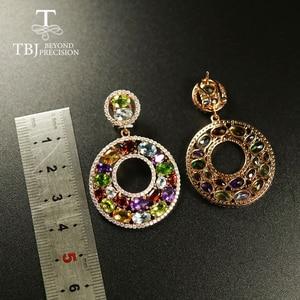 Image 3 - Tbj Big luxury Party Gemstone Earring,20ct Multi colorful gemstone c earring 925 sterling silver rose gold fine jewelry women