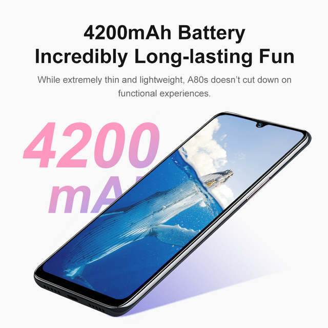 Blackview A80s Smartphone 6.217'' Screen Android 10 MT6762V/WD Octa Core 4GB RAM 64GB ROM Mobile Phone 4200mAh 4G Cellphone 5