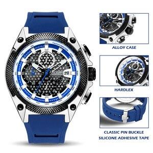 Image 3 - Megir Mannen Sport Horloge Relogio Masculino Blauw Siliconen Band Heren Horloges Top Brand Luxe Lichtgevende Waterdichte Quartz Horloge Man