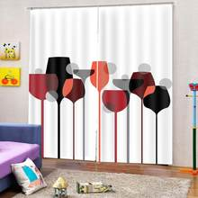 cups curtains Blackout 3D Window Curtains For Living Room Bedroom Drapes cortinas Customized size(China)