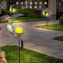Lawn-Lamp Decor-Lighting Flame Landscape Solar Led Garden Sun-Moon Waterproof Iron Retro