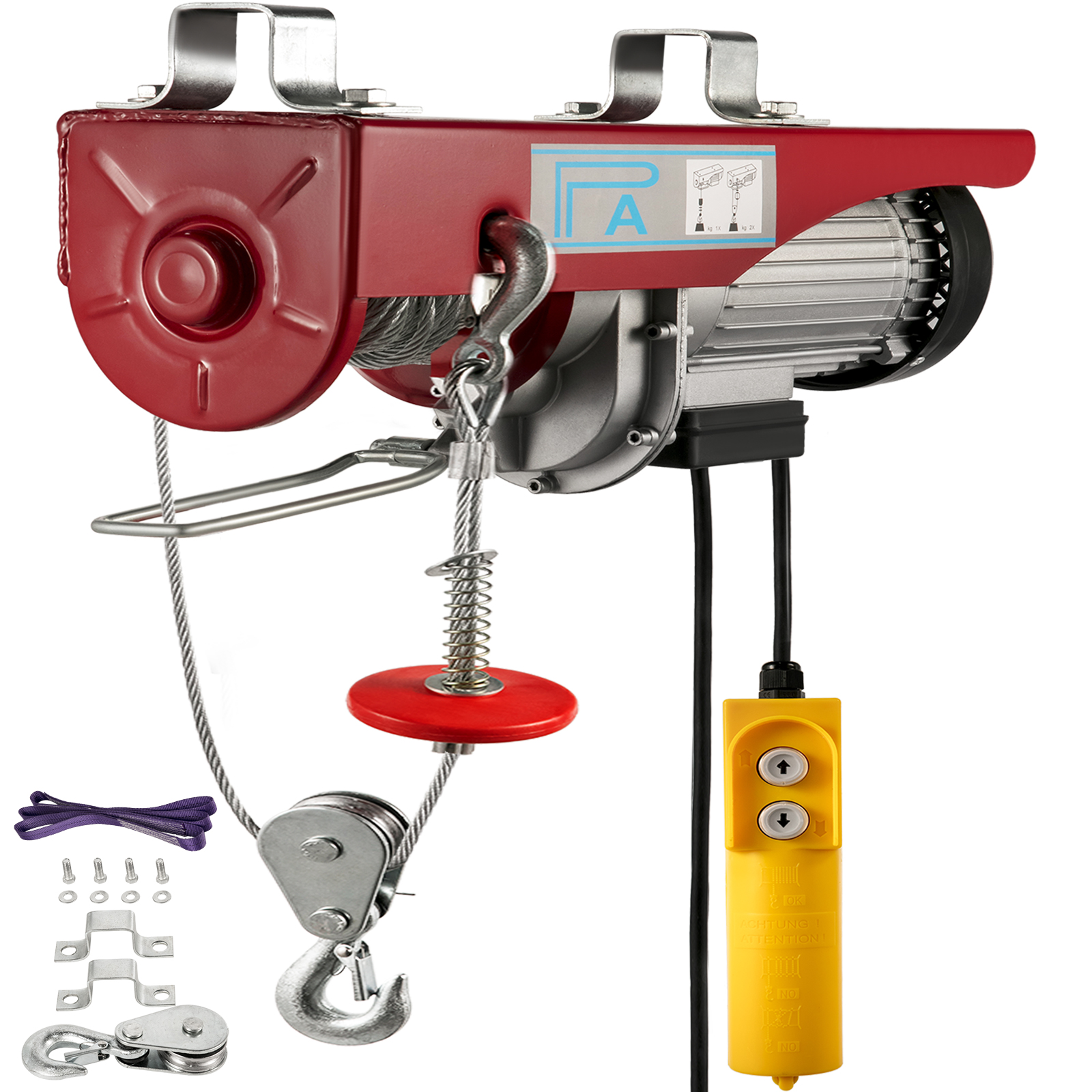 VEVOR 440 /880/1320/1760lbs 110V/220V Electric Hoist Crane New Portable Lift Overhead Garage Winch With Wired Remote Control
