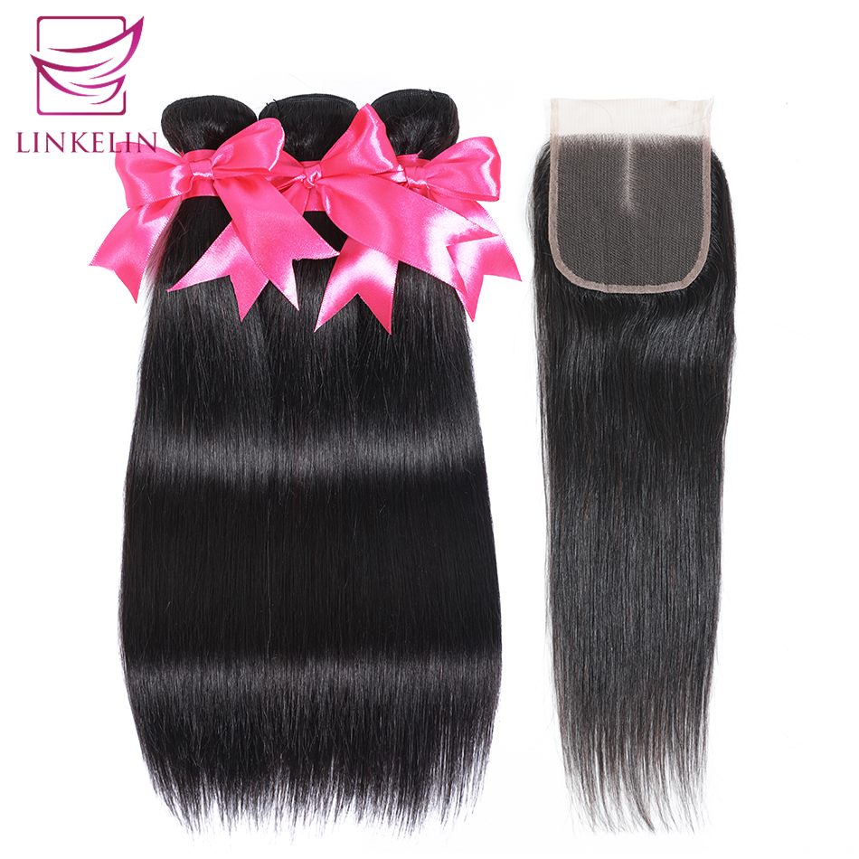 LINKELIN HAIR Straight Hair Bundles With Closure Remy Human Hair Malaysia Bundles With Closure 3 Bundles With Closure