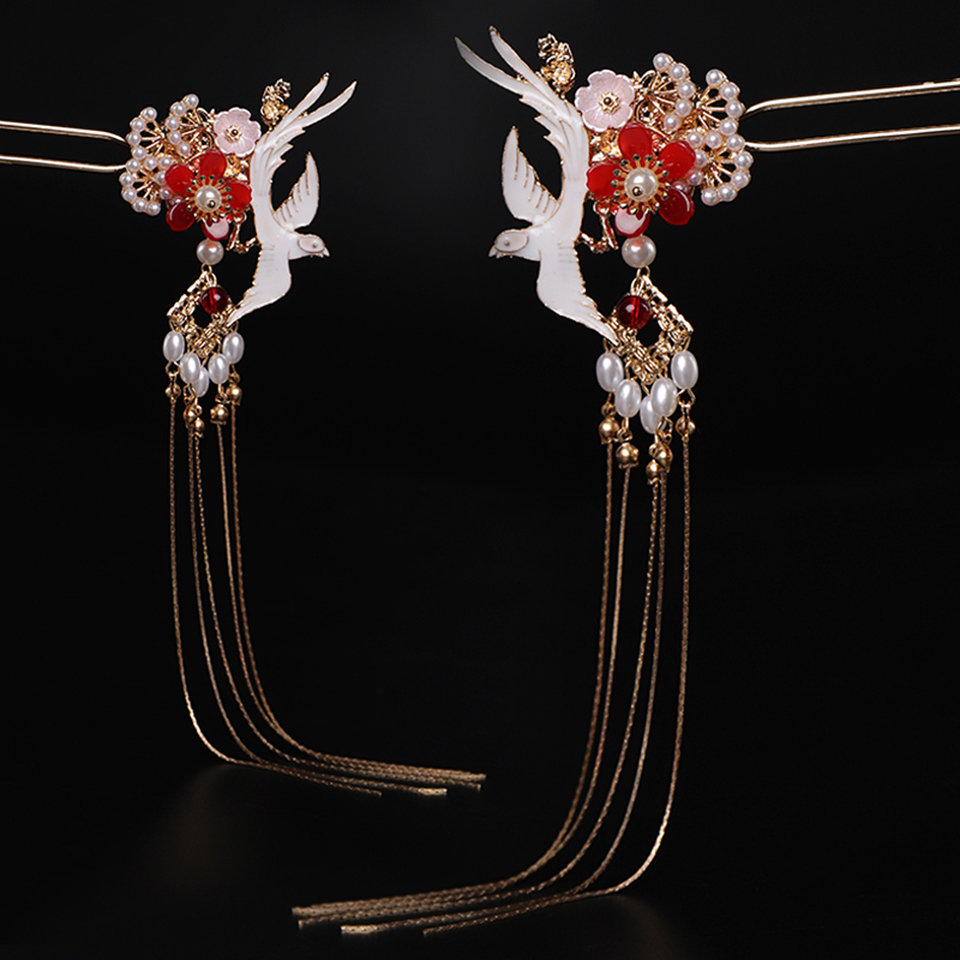 Chinese Traditional Hair Accessories Handmade Hair Sticks Women Flower Crystal Long Metal Tassels Hairpin Hair Jewelry