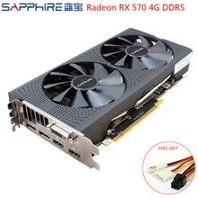 SAPPHIRE karty graficzne AMD Radeon RX 570 4GB komputer do gier wideo karty RX570 4GB GDDR5 256bit PCI Express 3.0 Desktop używany RX 570