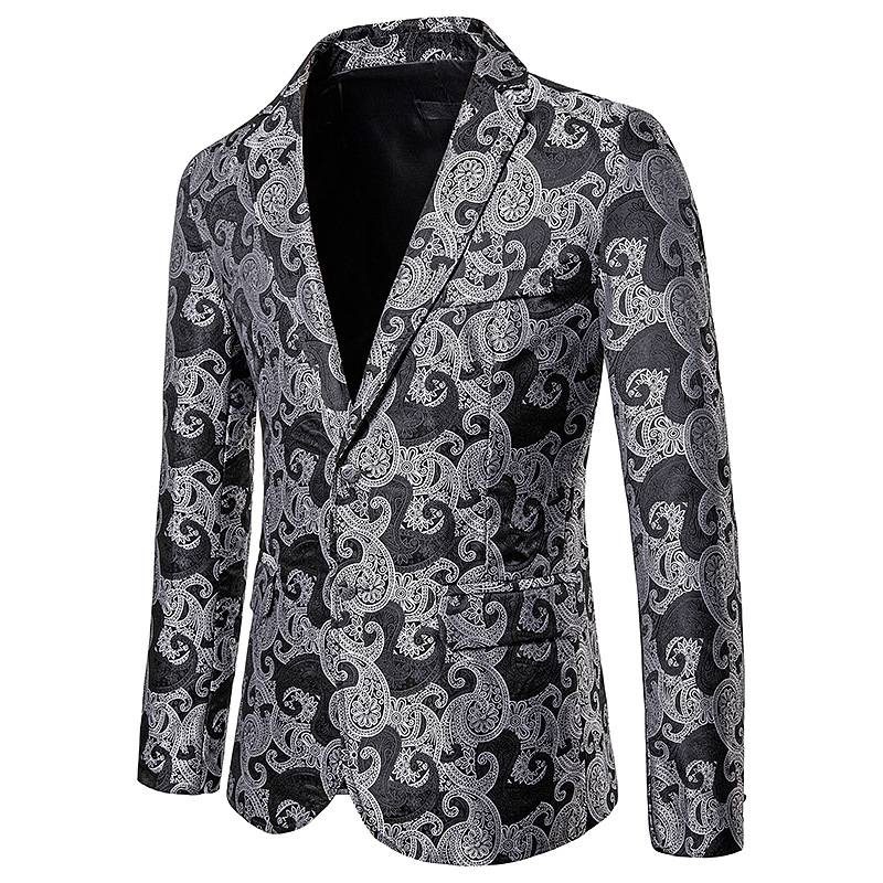 Costume Blazer Coat Jacket Dress Casual Suit Slim-Fit Stage-Singer Business Printing