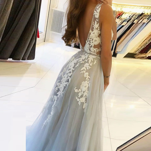 BEPEITHY V Neck Long Prom Dresses 2021 For Women Sexy Gray Summer Backless White Lace Dubai Evening Party Gown New 4