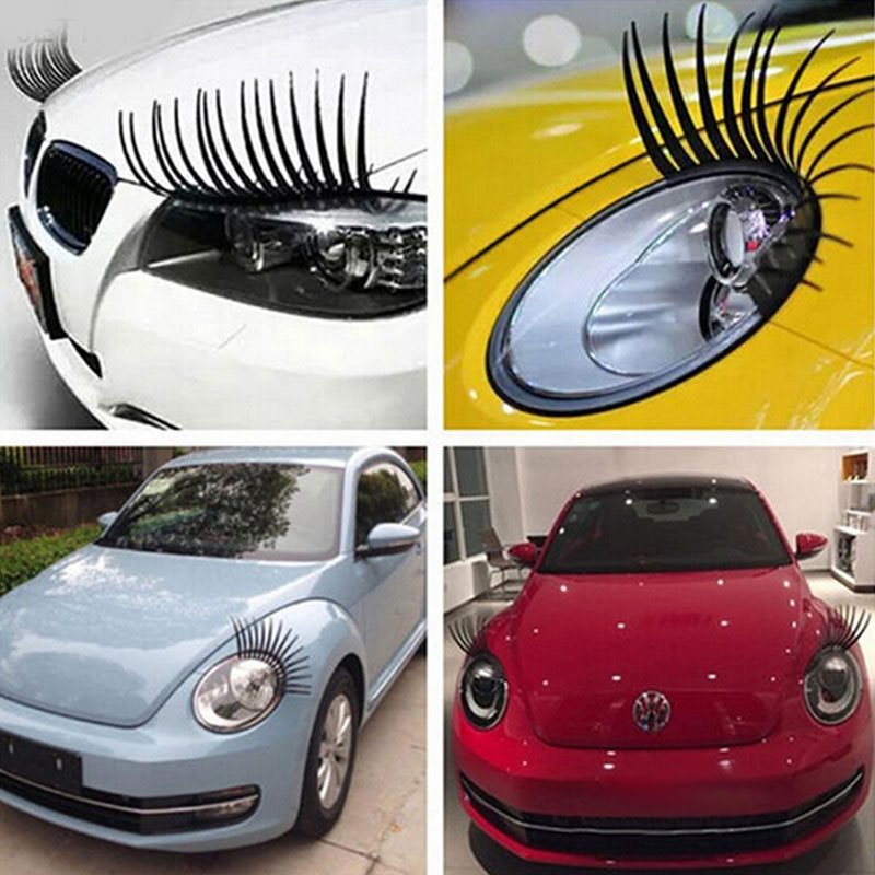 Car Stickers 2pcs 3D Charming Black False Eyelashes Fake Eye Lash Sticker Car Headlight Funny Decal For Beetle