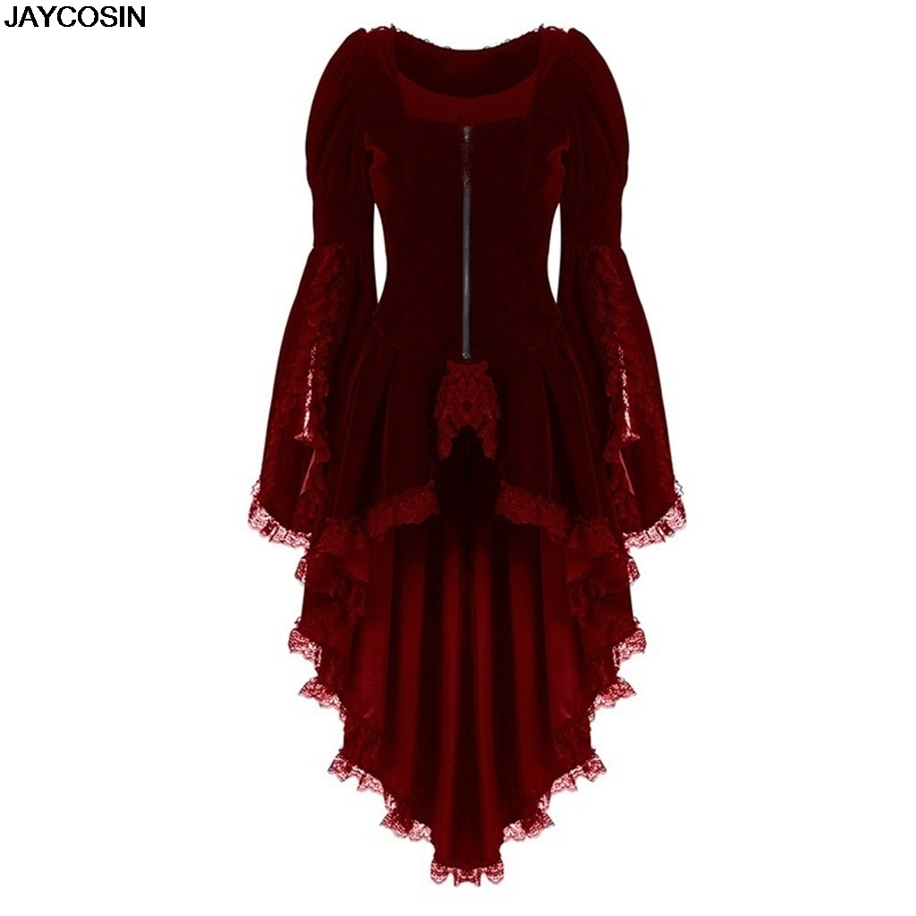 JAYCOSIN Steampunk Women Lace Trim Lace-up tuxedo Coat Black Victorian Style Gothic Jacket Medieval performing stage Dress 9801