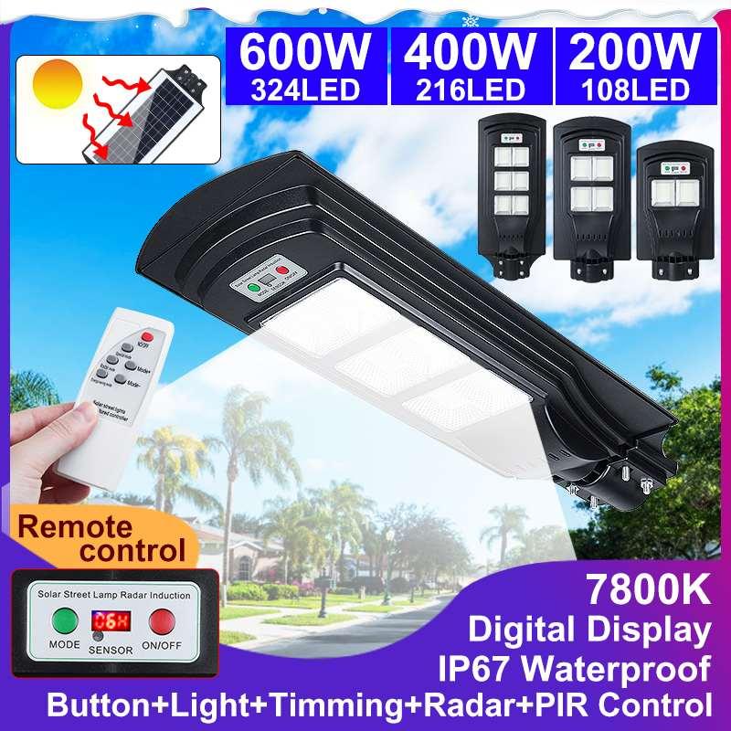 IP67 200/400/600W 108/216/324 LED Remote Control Digital Display Solar Light PIR Motion Sensor Outdoor Wall Street Lamp Lights