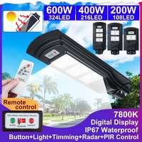 Ip67 200/400/600 w 108/216/324 led display digital de controle remoto luz solar sensor de movimento pir parede ao ar livre luzes da lâmpada rua|Luzes de rua| |  -