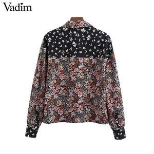 Image 2 - بلوزة نسائية Vadim ذات تصميم عتيق بأشكال أزهار مزخرفة بجيوب قمصان بأكمام طويلة للسيدات بلوزات أنيقة غير رسمية للسيدات LB746