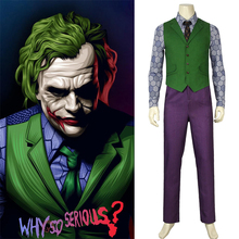 DC The Dark Knight Rises Joker Costume Cosplay Batman Vest Mask Shirt Suit Coat Blazer Adult Heath Ledger Halloween Custom