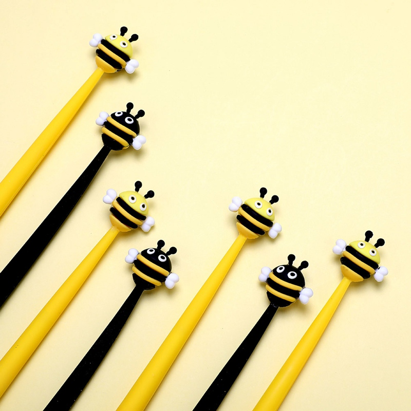 1 Pcs Cute Bees Gel Pen Promotional Gift Stationery School & Office Supply Silica Gel Pen Stationery Learning Supplies