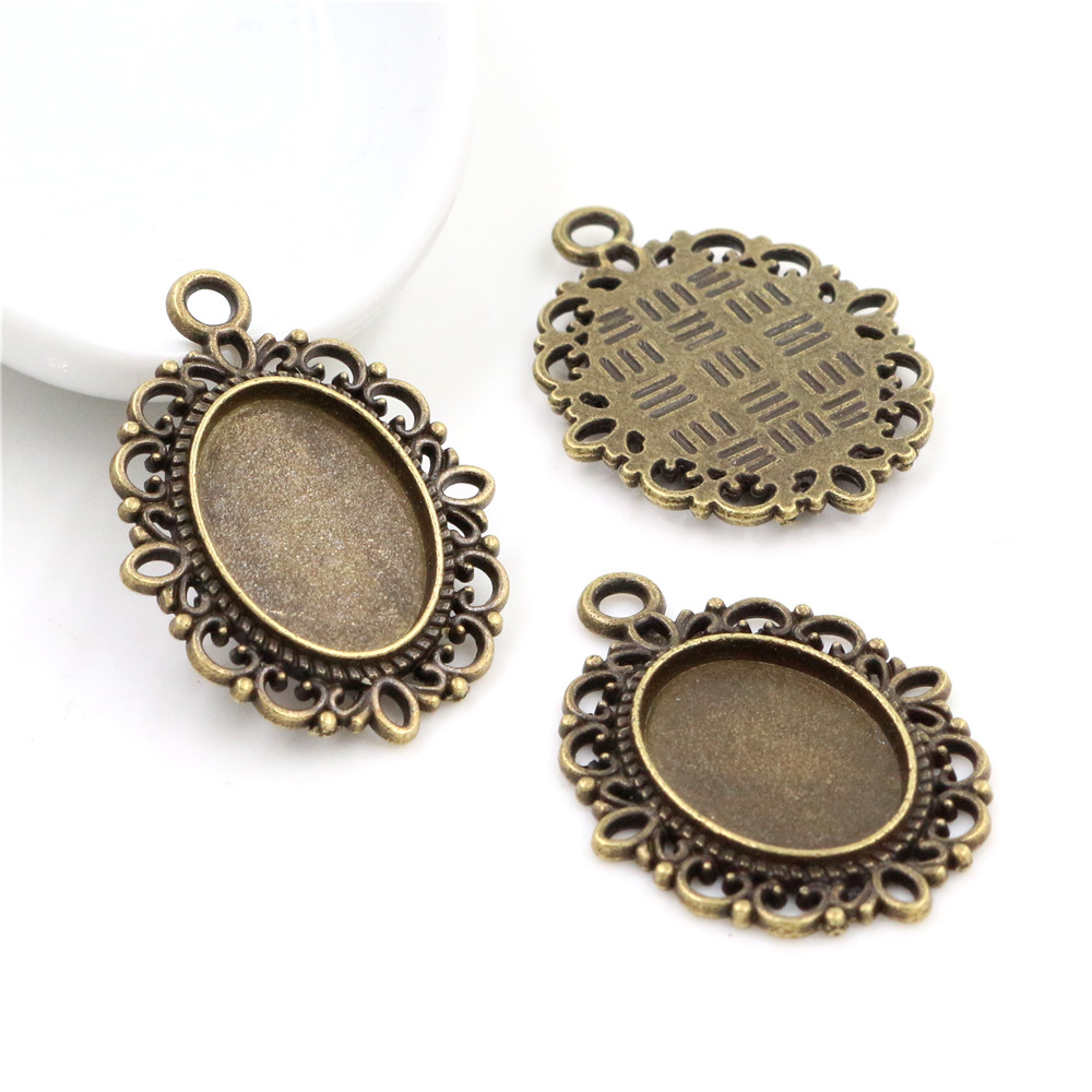 6pcs 13x18mm Inner Size Bronze Simple Style Cameo Cabochon Base Setting Charms Pendant Necklace Findings  (D4-03)