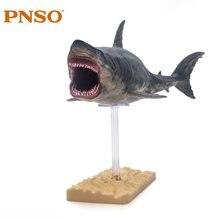 PNSO Megalodon tiburón con soporte de juguetes clásicos para niños de la vida de mar antiguo modelo de figura Animal
