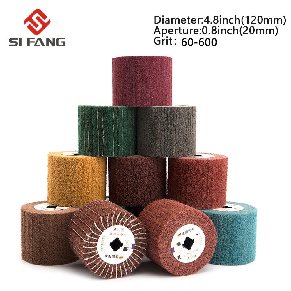 Non-woven Nylon Abrasive Flap Wheel Brush Wire Drawing Polishing Burnishing Drum  Wheel For Stainless Steel