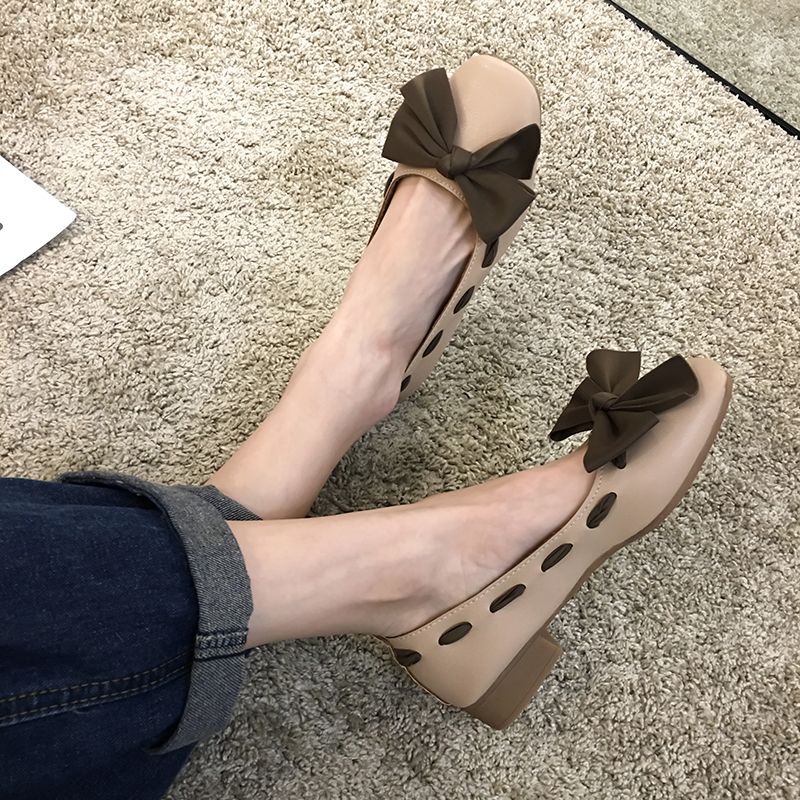 SLHJC 2020 Spring New Arrival Pumps Women Retro Square Toe Low Heel Knot Decoration Casual Leather Female Footwear