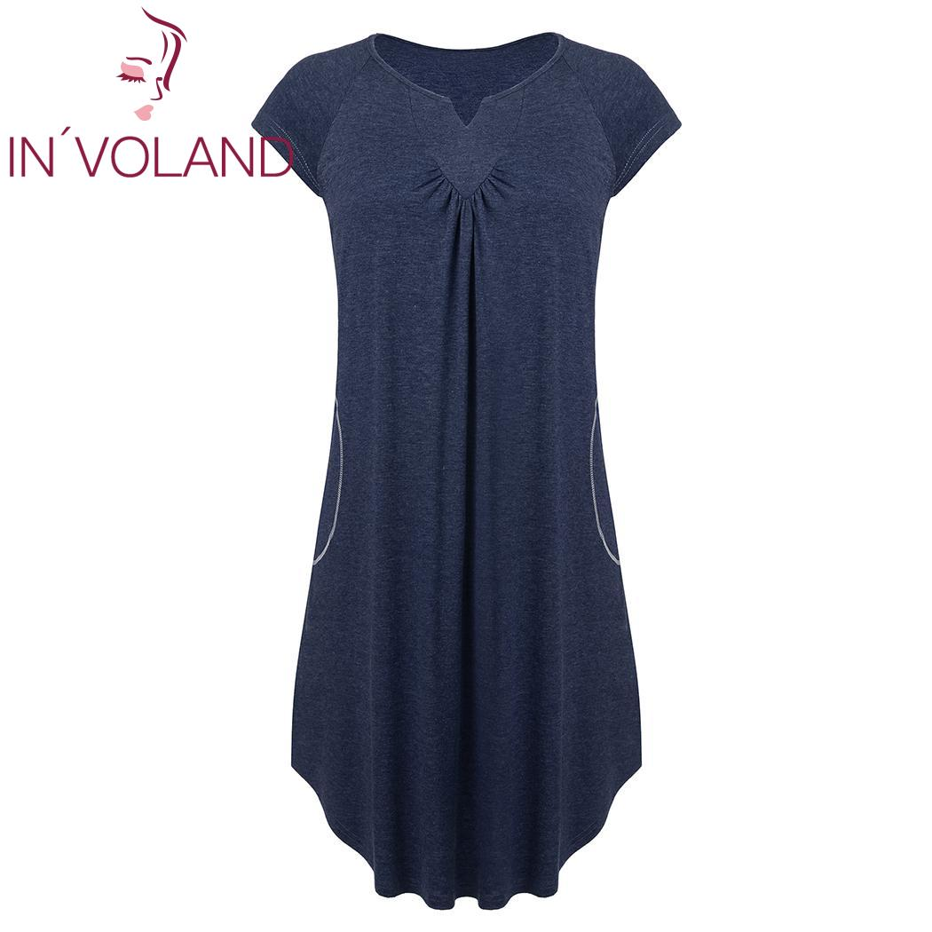 IN'VOLAND Women Sleep Dress Plus Size XL-5XL Casual Summer Pleated V-Neck Short Sleeve Loose Nightdress Female Nightgown