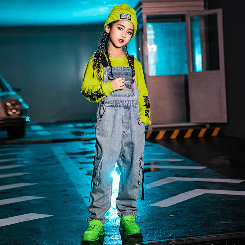 120-170cm Children'S Jazz Dance Set Boys Hip Hop Costumes Streetwear For Girls Stage Clothes T-Shirt Denim Jumpsuit Tide DWY2358