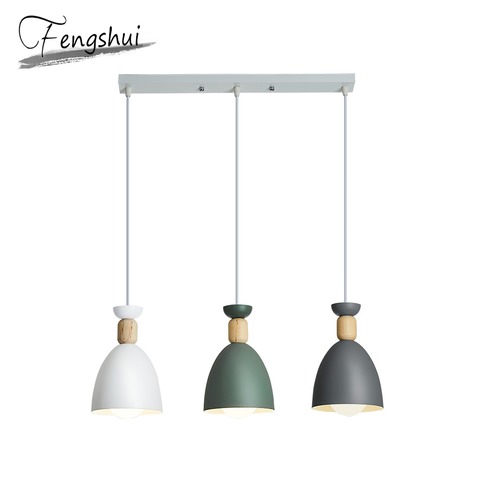 Nordic Iron Pendant Lights Wood Hanging Lamp Simple Pendant Lamp Living Room Bedroom Kitchen Dining Room Loft Pending Lighting