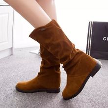 Womens Inner Height Shoes Winter Snow Boots Fashion Mid-calf Boot Woman Hidden Wedge Plus Cotton Warm Non-slip Ladies Classics