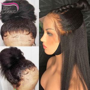 Yaki, парик с прямыми кружевами спереди, Детские волосы, безклеевые парики из человеческих волос, бразильские волосы без повреждений, Elva, пред...
