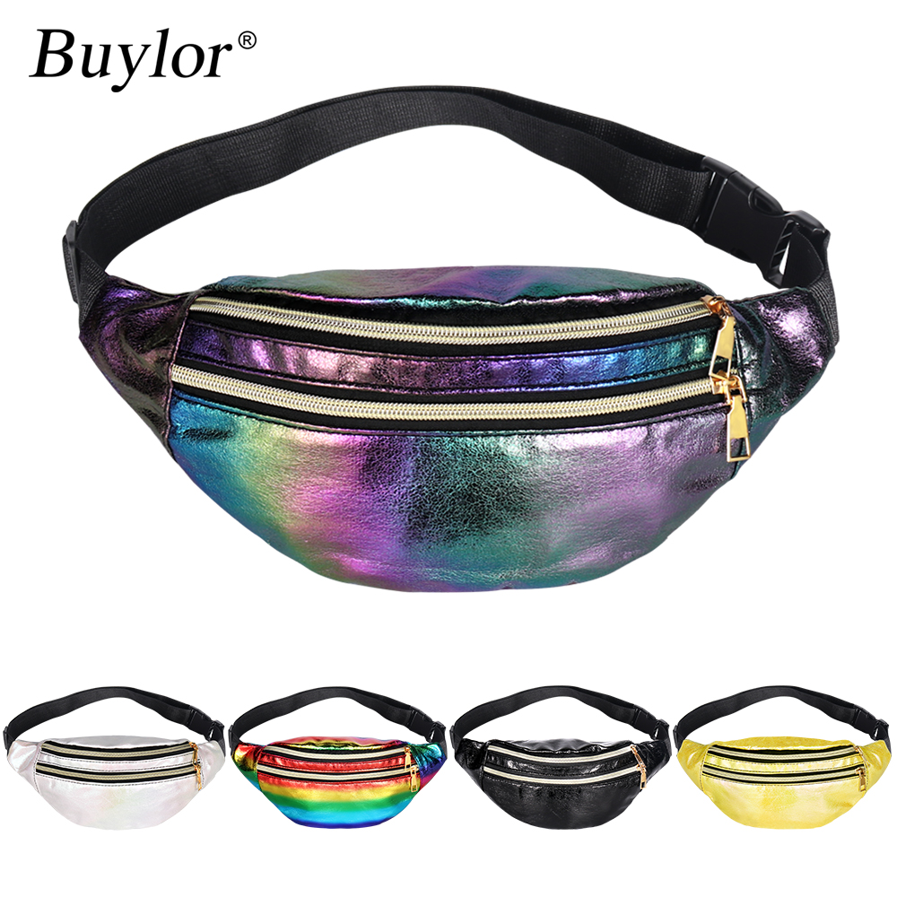 Buylor Holographic Fanny Pack Laser Belt Bag  Women Designer Waist Packs Cute Bumbag Fashionable Chest Bag for Party, Shopping