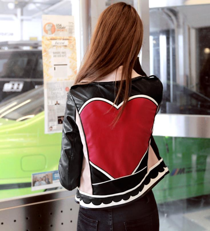 Love circle pattern print street leather jackets female zipper stitching embroidery was thin leather jackets outerwear F50