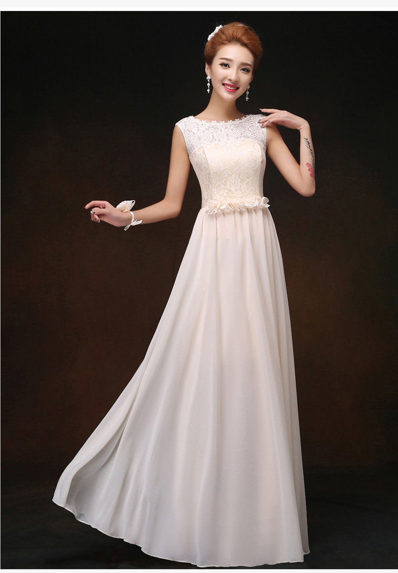 O-Neck Chiffon Long Dress For Wedding Party For Woman Vestido Largo Sirena Bridesmaid Elegant Sexy Sister Dress Prom Champagne