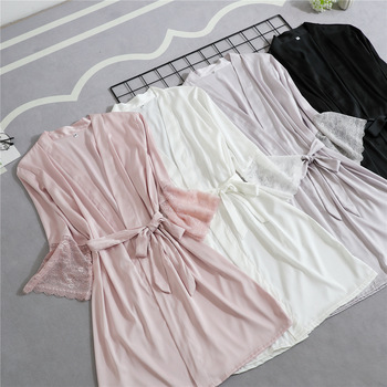 Soft Sleepwear Negligee Lace Kimono Gown Half Sleeve Loose Bride Bridesmaid Wedding Robe Casual Women Home Clothing Nightgown lace panel kimono sleeve tee