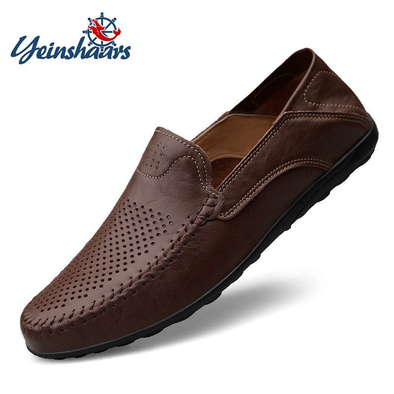 YEINSHAARS Genuine Leather Men Casual Shoes Luxury Brand Mens Loafers Moccasins Breathable Slip On Driving Shoes Plus Size 37-47