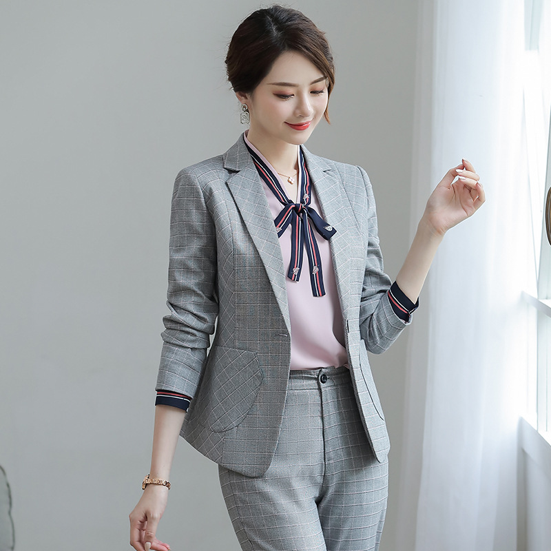 female elegant Women's Gray Plaid Pants Suit dress Blazer costumes jacket Suits ladies office wear uniforms 2 piece set clothes