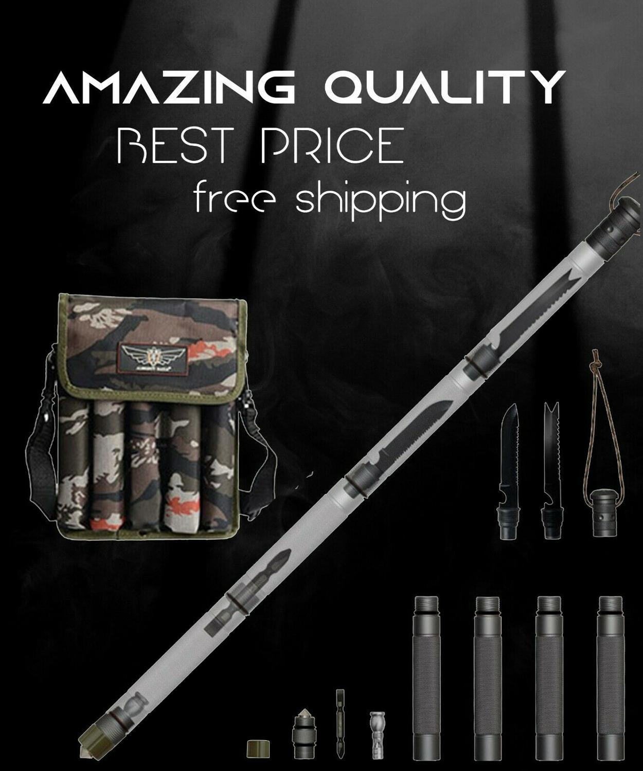 Trekking Poles Nordic Walking Stick Multifunction Outdoor Defense Tactical Alpenstock Hiking Camping Hunting Fishing Skiing Tool
