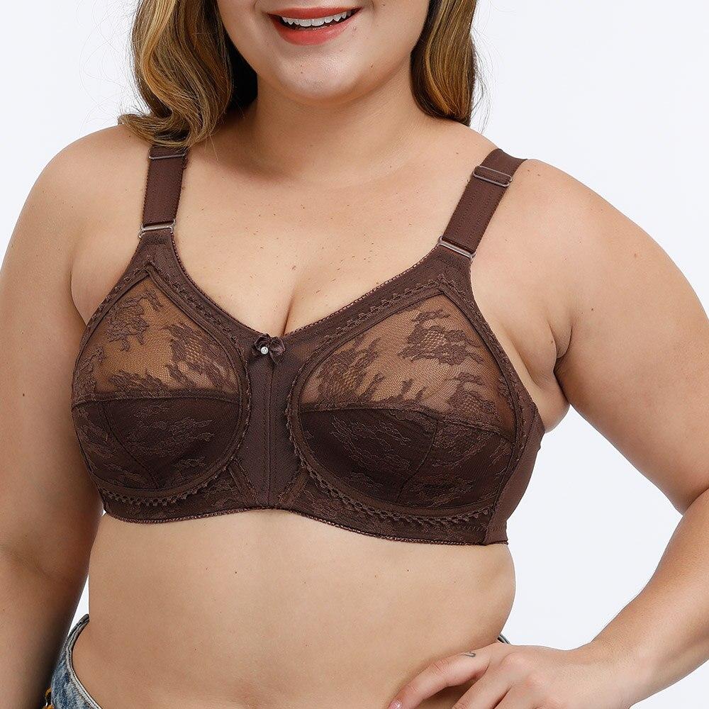 Womens Lace Bras Full Cup Wireless Unpadded Brassiere Minimizer Underwear Fuller Figure Sexy Lingerie Tops B C D DD Cup 1