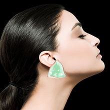 European and American popular geometrical alloy shell bottom oil spill piece of fashionable woman earrings jewelry