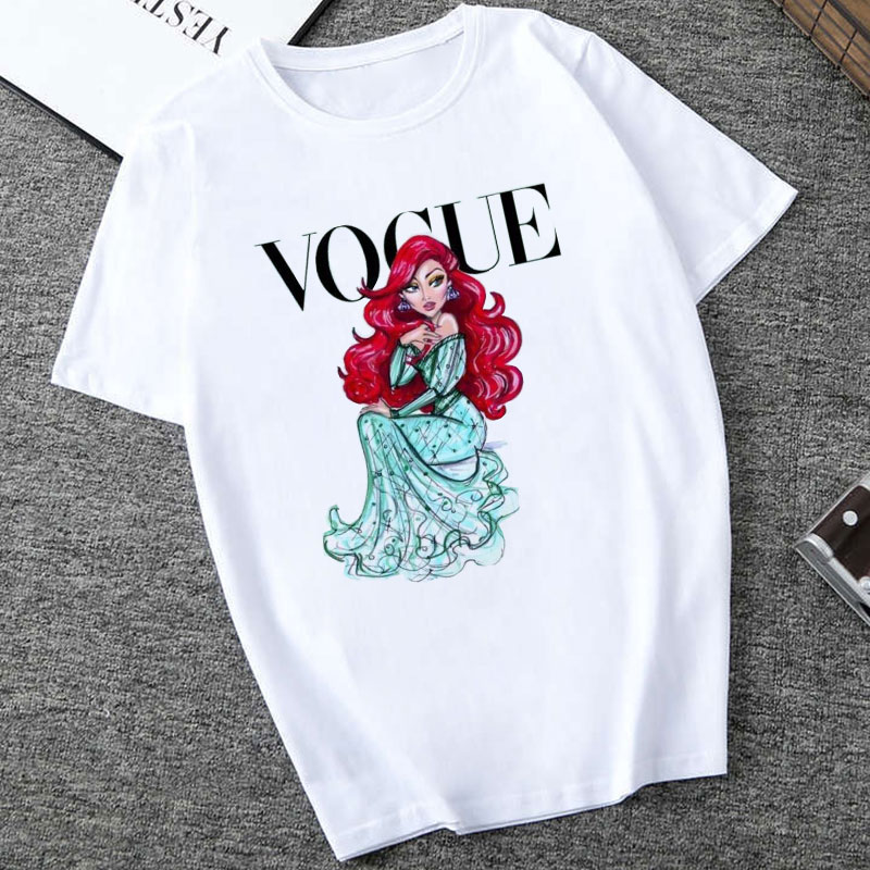 Women White Top Shirt VOGUE Lady Harajuku Print 19 Summer Short Sleeve Fashion Streetwear Tshirt For Women Korean Top Shirt 13