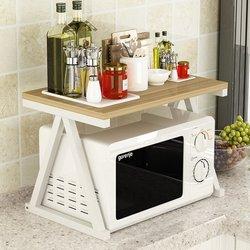 Estante de almacenamiento para cocina, estante de horno para microondas A la moda, estante de cocina multiusos de acero para horno y especias + suministros de cocina de madera