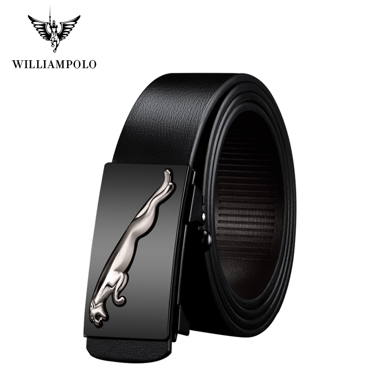 Williampolo Genuine Leather Belts For Men Automatic Male Cheetah Bucklt Drop Shipping PL18291-93P