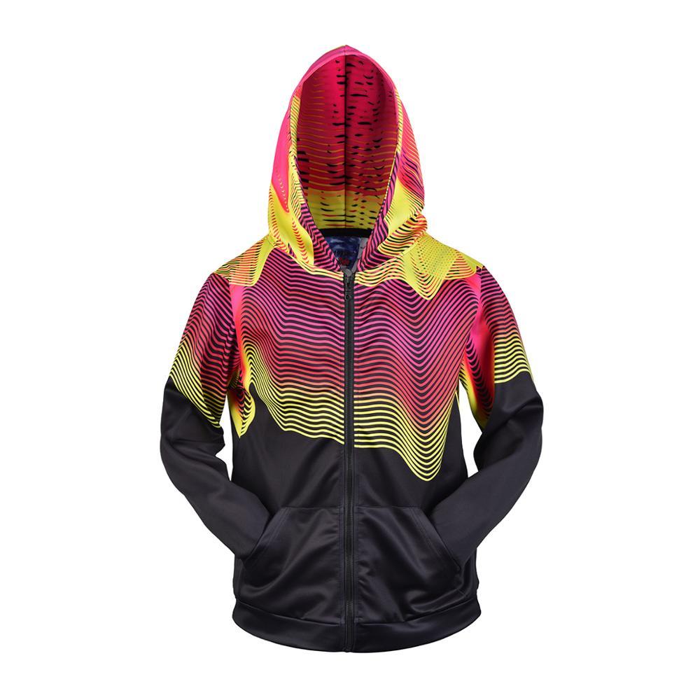 3D Men Hoodies Zip Up Splatter Color Stripes Print Hip Hop Streetwear Casual Jacket Women Outwear Hipster Hood
