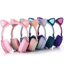 Bluetooth Беспроводной кошка гарнитура уши с микрофоном, милый малыш девочек с набивным рисунком музыка шлем, складная гарнитура со светодиодно...