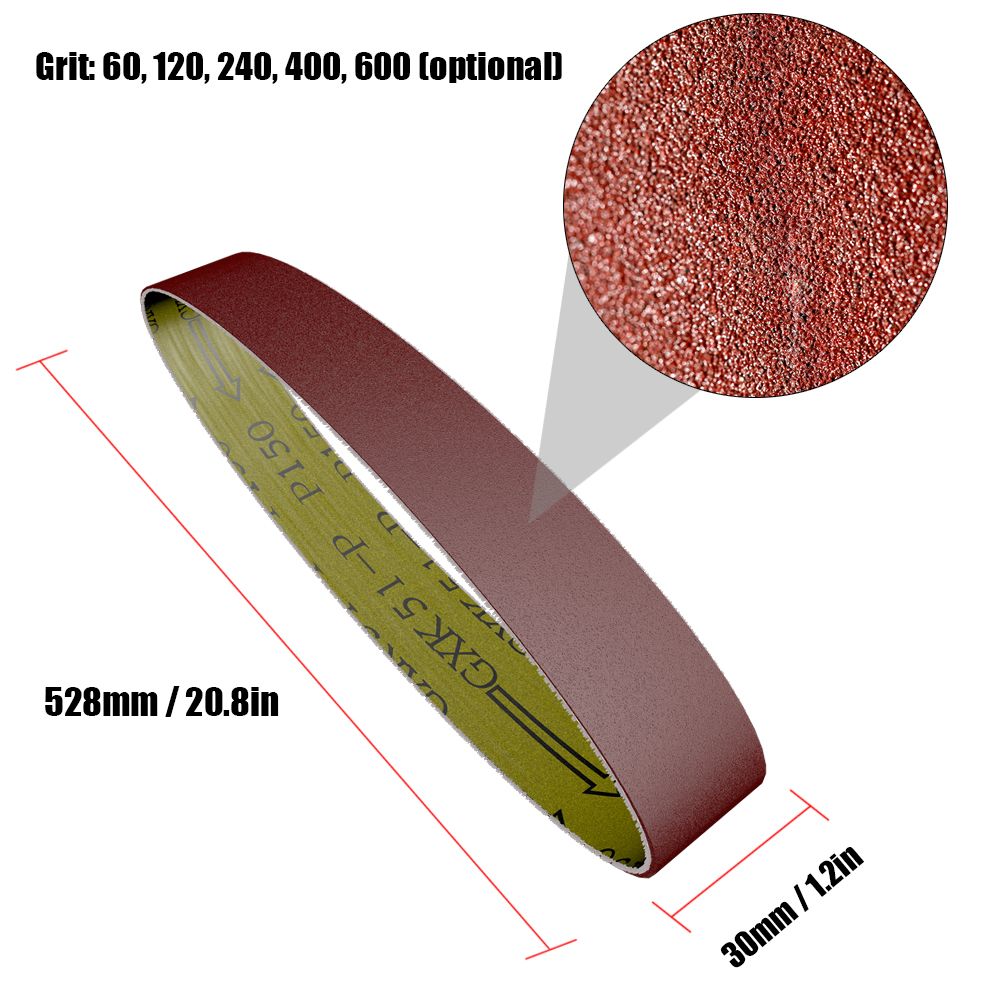 Hot 10pcs 528*30mm Sanding Belts 60-600 Grit Grinding And Polishing Replacement For Angle Grinder