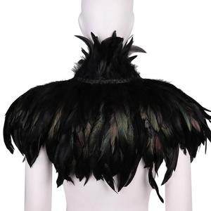 Image 3 - MSemis Adult Black Gothic Victorian Scarf Poncho Wrap Natural Feather Choker Collar Cape Shawl Stole Halloween Cosplay Costume