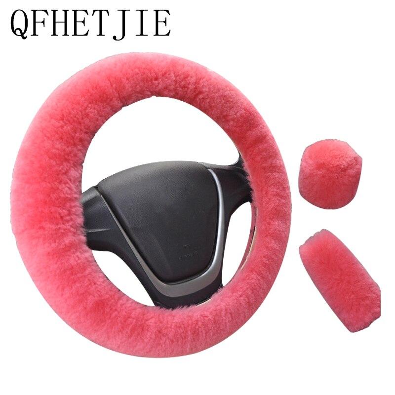 Auto Stuurhoes 16 Kleuren Winter Universele Handrem Gear Positie Gear Drie Stuk Bont Cover Auto-interieur accessoires