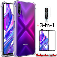 3-in-1capa, glass+airbag case for honor 9 x pro huawei honor 30s soft clear anti-shock phone cover x10 honor9x case honor 9x pro for honor 9 huawei honor 9 lite case full protection soft clear tpu silicone cases honor 9x crystal phone case honor 9 x cover