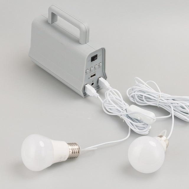Power Panel LED Solar Generator Kit Bluetooth Speaker USB Charger Home System + 2 LED Bulbs Outdoor Lighting Smartphone Charging 6